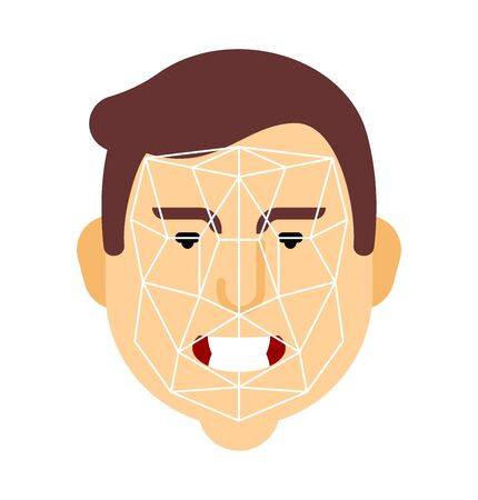 Human recognition face. Personality Identification. vector illustration