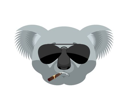 Koala Cool serious avatar of emotions. koala bear smoking cigar emoji. Beast strict. Vector illustration