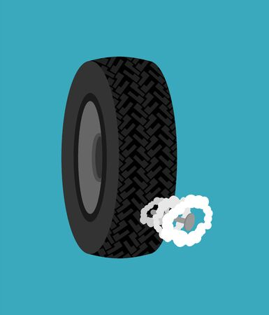 Nail into tire. Car Wheel Blown Off. vector illustration Ilustrace