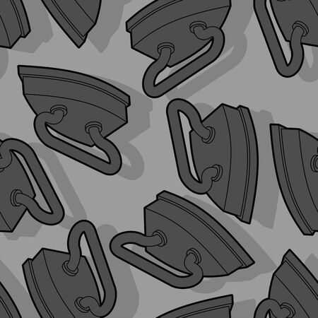 Old retro iron pattern seamless. Heavy heated metal appliance for ironing linen, fabrics. vector background