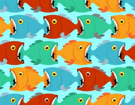 Fish eat fish pattern seamless. Predatory fish with open mouth. underwater world background. Baby fabric texture  Ilustração