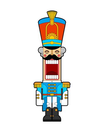 Nutcracker retro soldier. Wooden Guardsman. Hussar toy. vector illustration