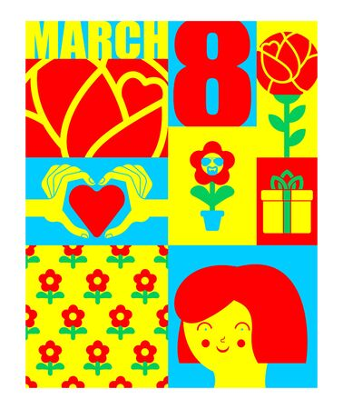 8 March. International womens day. Flower, heart and love. Template Greeting card, poster, flyer. Ilustracja