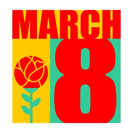 8 March. International womens day. Flower. Template Greeting card, poster, flyer.