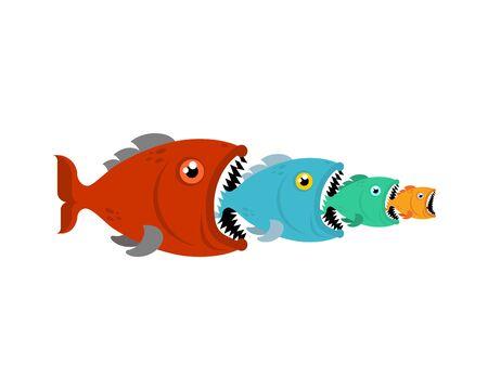 Big Fish eats small fish. Predatory fish with open mouth  Illustration