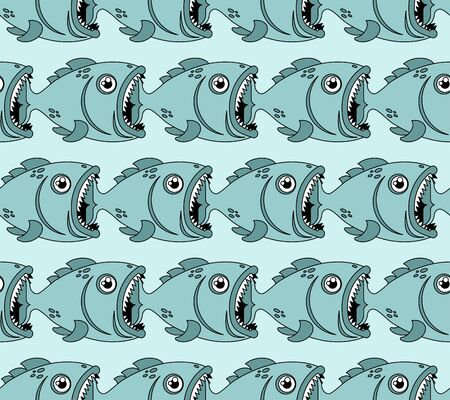 Fish eat fish pattern seamless. Predatory fish with open mouth. underwater world background. Baby fabric texture