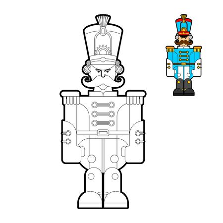 Hussar soldier retro coloring book. Guardsman with mustache line style. vector illustration