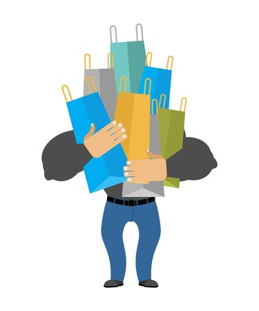 Man with shopping bags. Male shopping vector illustration