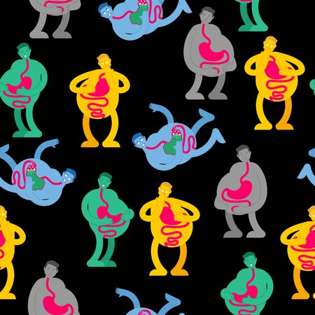 Heaviness in stomach pattern seamless. bloating background. nausea texture. Sick belly ornament. vector illustration