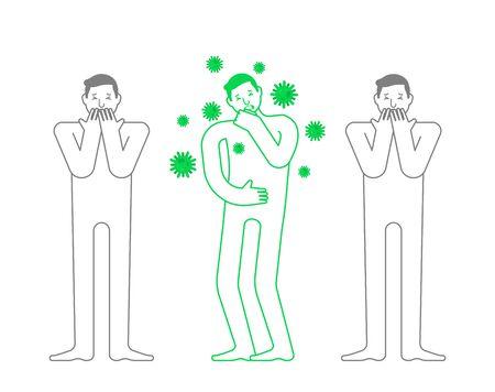 coronavirus 2019-nCoV epidemic. Panic. Man sneezes and people are afraid