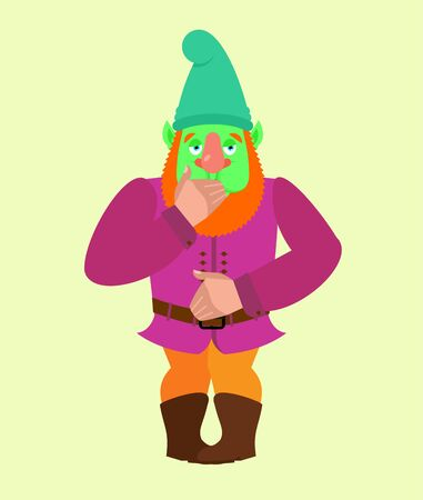 Garden gnome Nausea. dwarf Sick emotions. ill Vector illustration