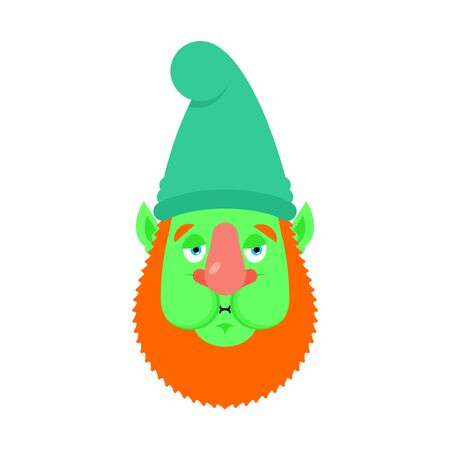 Garden gnome Nausea emoji. dwarf Sick emotions avatar. ill Vector illustration