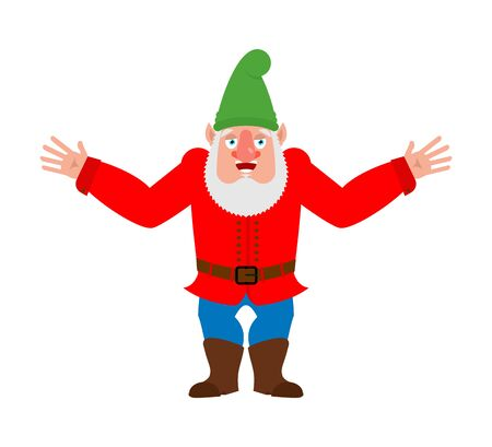 Garden gnome happy. dwarf merry, Joyful. Vector illustration