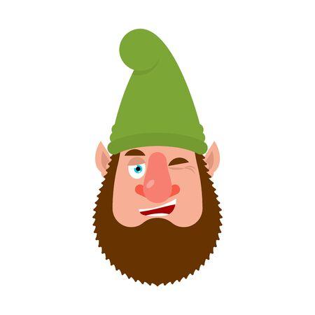 Garden gnome winks. dwarf happy emoji. Vector illustration  イラスト・ベクター素材