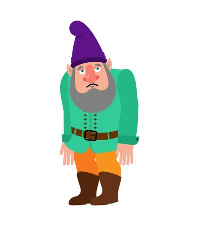 Garden gnome sad. dwarf sorrowful, dull. Vector illustration