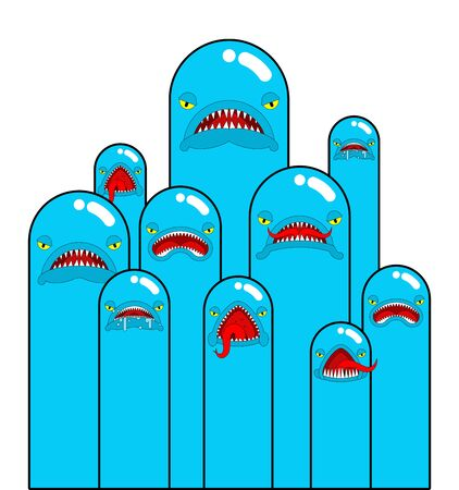 Angry worm set. Evil worms isolated. vector illustration Ilustrace