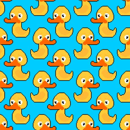 Rubber duck pixel art pattern seamless. Toy 8 bit background. Pixelate vector illustration. Baby fabric texture