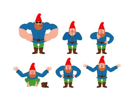 Garden gnome set poses. dwarf happy and yoga. scared and angry. guilty and sad. Vector illustration Иллюстрация
