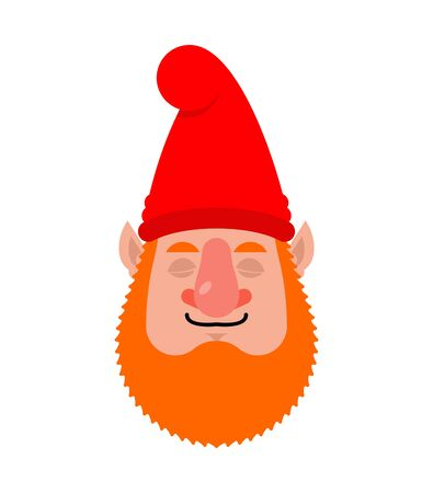 Garden gnome sleeping emoji. dwarf asleep emotions. dormant Vector illustration