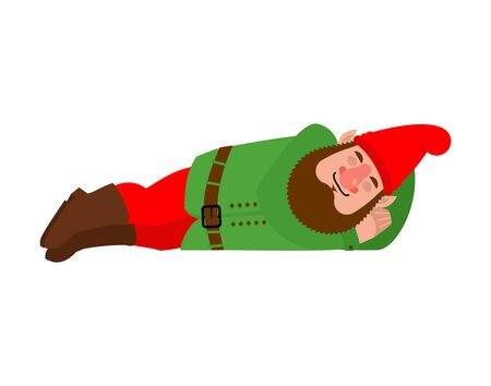 Garden gnome sleeping. dwarf asleep. dormant Vector illustration