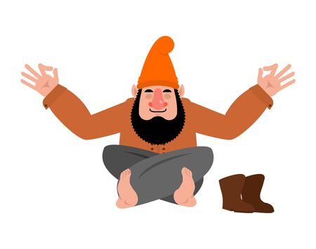 Garden gnome yoga. dwarf yogi isolated. Relaxation and meditation. Vector illustration