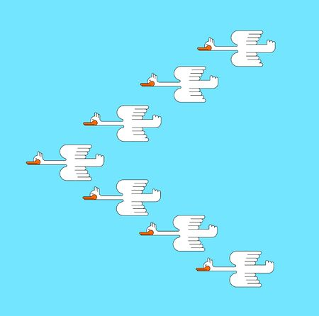 Flock of ducks. cartoon flock of geese. vector illustration