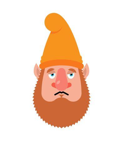 Garden gnome sad emoji. dwarf sorrowful emotions.  dull. Vector illustration