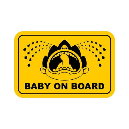 Baby on car sticker. Kid on board. face of crying boy. Children tantrum
