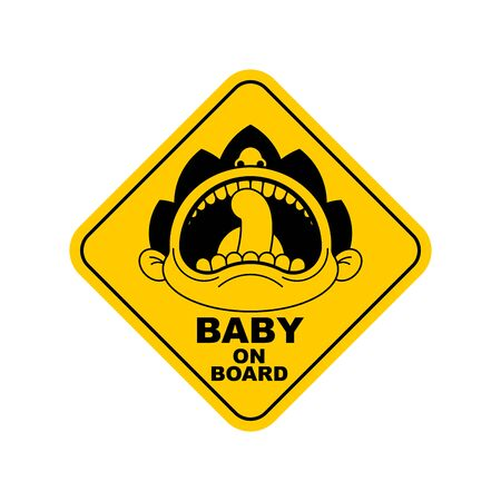 Baby on board car sticker on white