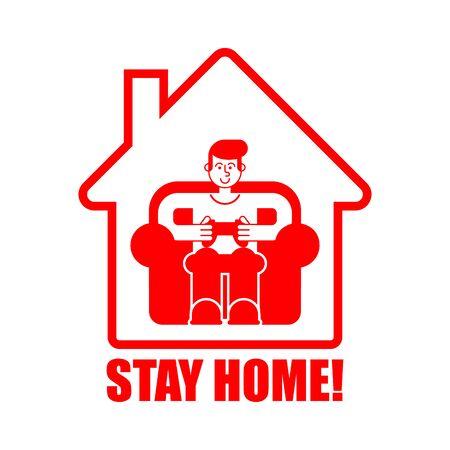 Reste à la maison. Joueur jouant à la maison. Mode d'isolement du coronavirus. Quarantaine du virus. Pandémie. Vecteurs