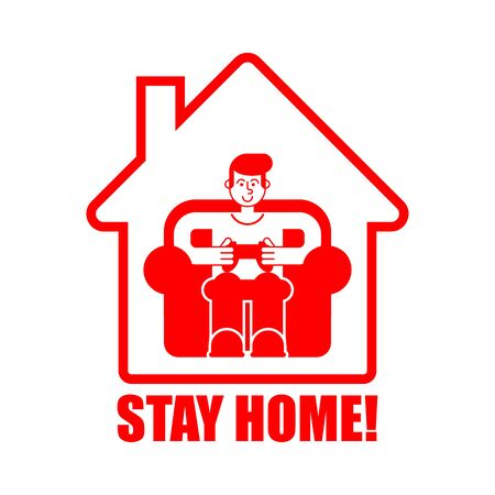 Stay at home. Gamer playing at home. Coronavirus isolation mode. Quarantine from the virus. Pandemic. Vector Illustration