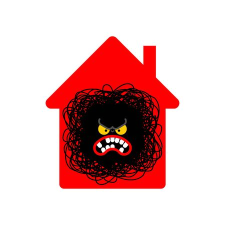 Stay at home. Angry being at home. Annoyance in house. Coronavirus isolation mode. Quarantine from virus. Pandemic. 向量圖像