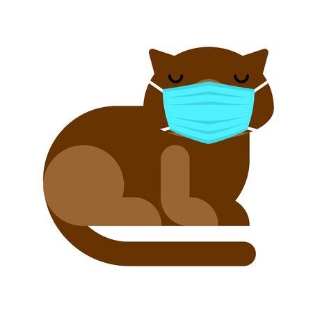 Cat in medical mask. Quarantine from coronavirus. Pandemic.