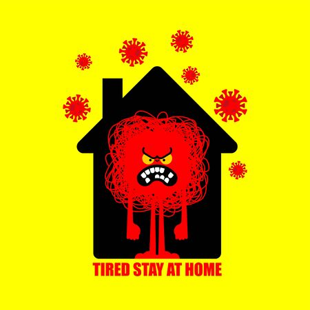 Tired of stay at home. Angry being at home. Annoyance in house. Coronavirus isolation mode. Quarantine from virus. Pandemic. Vector Illustratie
