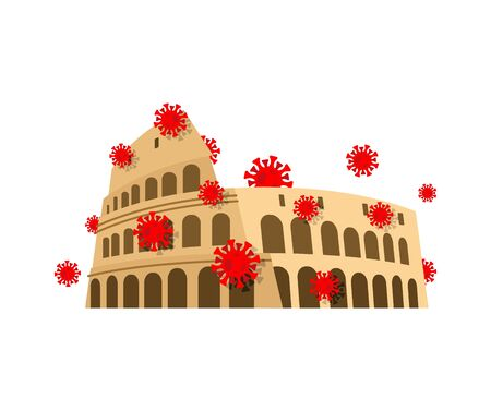 Coliseum and virus. Quarantine in Italy. Coronavirus epidemic in world. Outbreak Covid-19 Pandemic. World disaster
