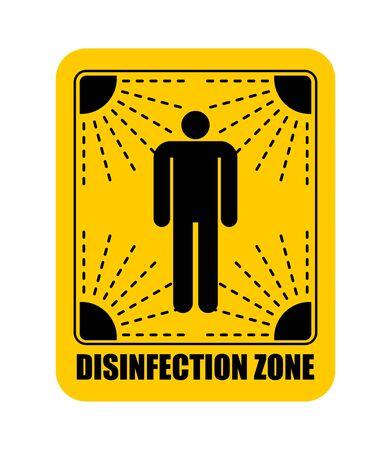 Disinfection area sticker. Virus Exclusion Zone. Clean Room yellow Sticker. Coronavirus epidemic in world. Outbreak Covid-19 Pandemic. World disaster Vektorgrafik