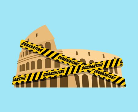 Coliseum is wrapped in yellow warning tape Quarantine. Quarantine in Italy. Coronavirus epidemic in world. Outbreak Covid-19 Pandemic. World disaster