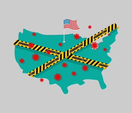 USA is wrapped in yellow warning tape Quarantine. America map Coronavirus epidemic in world. Outbreak Covid-19 Pandemic. World disaster