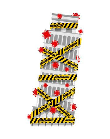 Tower of Pisa is wrapped in yellow warning tape Quarantine. Quarantine in Italy. Coronavirus epidemic in world. Outbreak Covid-19 Pandemic. World disaster