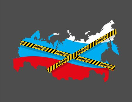 Russia is wrapped in yellow warning tape Quarantine. Russian map Coronavirus epidemic in world. Outbreak Covid-19 Pandemic. World disaster