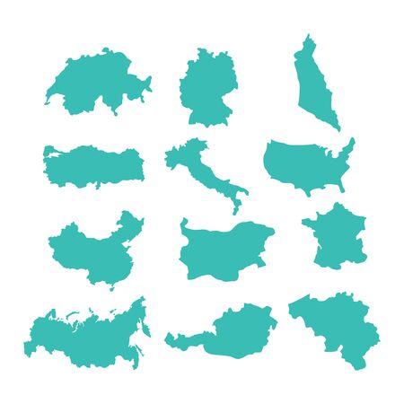 Map country set. USA and Germany. Austria and Australia, Turkey and China. Bulgaria and Switzerland