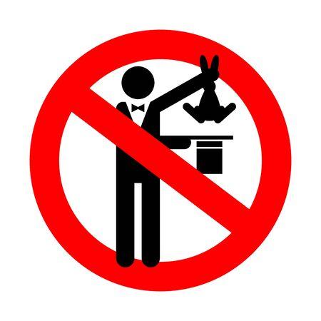 Stop Magic trick. Ban Magician Hat and hare. no tricks icon. Red prohibition road sign Vektoros illusztráció