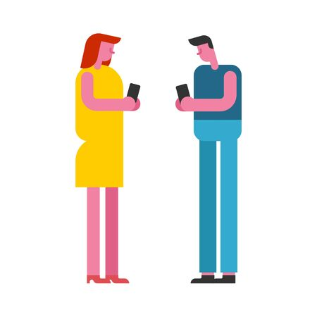 Lovers on date with phone. Gadgets interfere with love