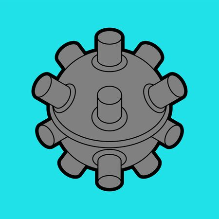 Naval mine isolated. Underwater bomb. vector illustration Çizim