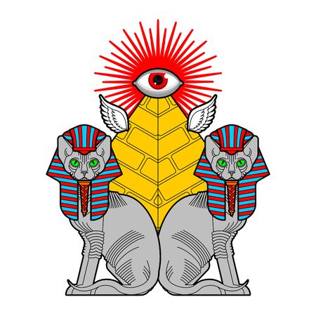 Sphinx cat and Egyptian pyramid. Sacred animal of Egypt. Secret mystic pet sign