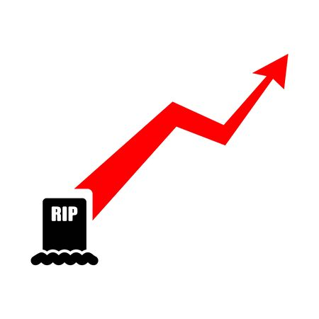 Mortality growth chart. Graph deaths increase. vector illustration