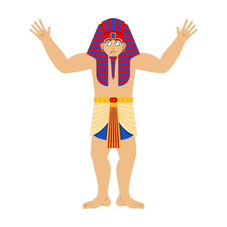 Pharaoh confused. Rulers of ancient Egypt perplexed. Vector illustration