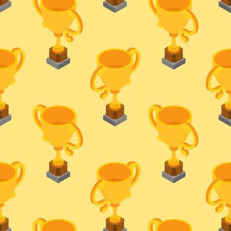 Gold cup pattern seamless. Golden goblet background. Achievement reward. vector texture 向量圖像