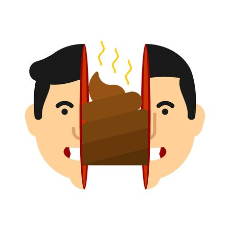 Shit inside head human. Bad thoughts inside head concept. vector illustration