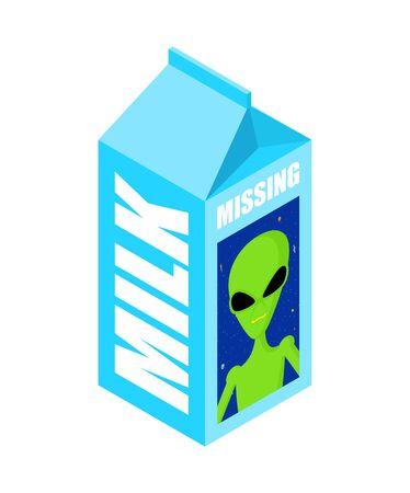 Missing Milk alien. Search for missing UFO on milk packaging. vector illustration